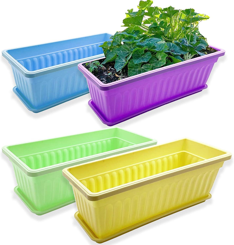 4 Packs 17 Inch Rectangular Window Flower Box Planter with Tray for Balcony ,Windowsill ,Garden