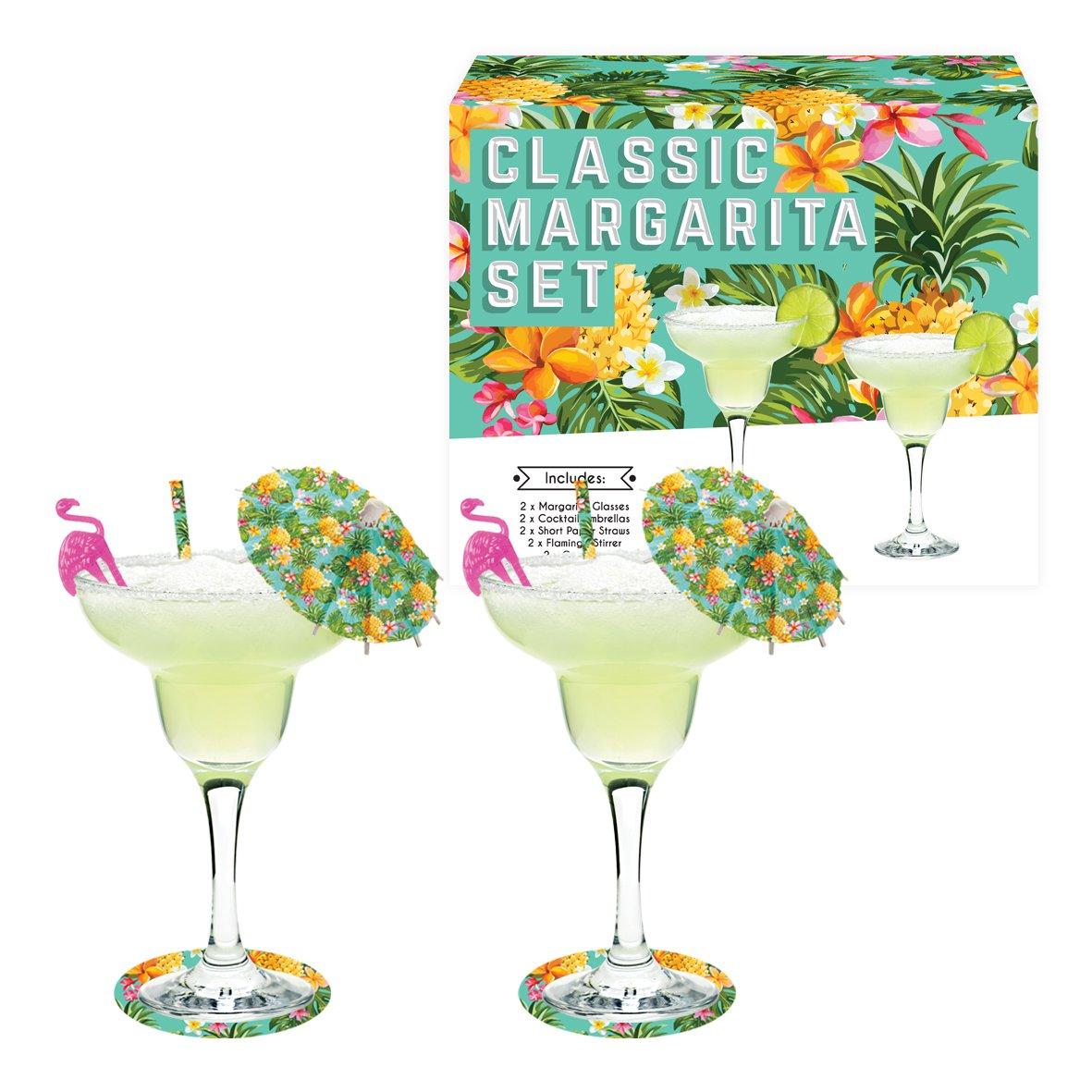 Vintage Kitchen Company Margarita Cocktail Glasses Gift Set, Transparent, Set of 2