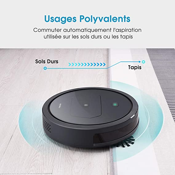 Homasy Robots - Aspirador potente 1300 PA, silencioso y mando a distancia, carga automática con filtro HEPA, 2 cepillos laterales y 2 modos de limpieza ...