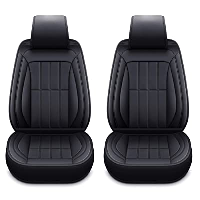 LUCKYMAN CLUB 2 Front Driver Seat Covers Fit Most Sedan SUV Truck Fit for Cadillac Escalade CT6 DTS SRX STS XT5 XTS ATS XT4 Toyota 4runner Tacoma (2 PCS Front, Black): Automotive