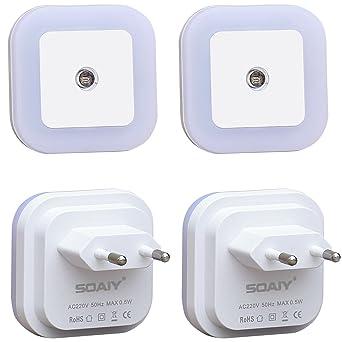 SOAIY® 0,5W LED Lampara con Sensor Automático a Luz, de Bajo Consumo