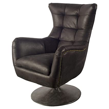 Amazon.com: Mercana Leather and Wood Chair with Black Finish ...