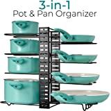 LATTI Pots and Pans Cabinet Organizer and Kitchen Storage Rack - 8 Shelf Metal Cookware Holder with Adjustable Dividers - Organization for Frying Pan, Pot Lid, Cast Iron Skillet, Baking Dish