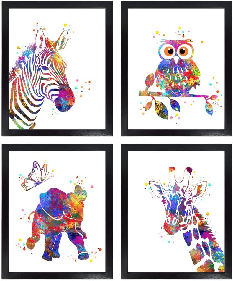 Dignovel Studios Unframed (Set of 4) 8X10 Baby Animals Watercolor Art Print Set Nursery Decor Zebra Owl Elephant Giraffe dnc8