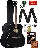 Fender CD-60 Dreadnought Acoustic Guitar - Black Bundle with Hard Case, Strap, Tuner, Strings, Picks, Instructional Book…