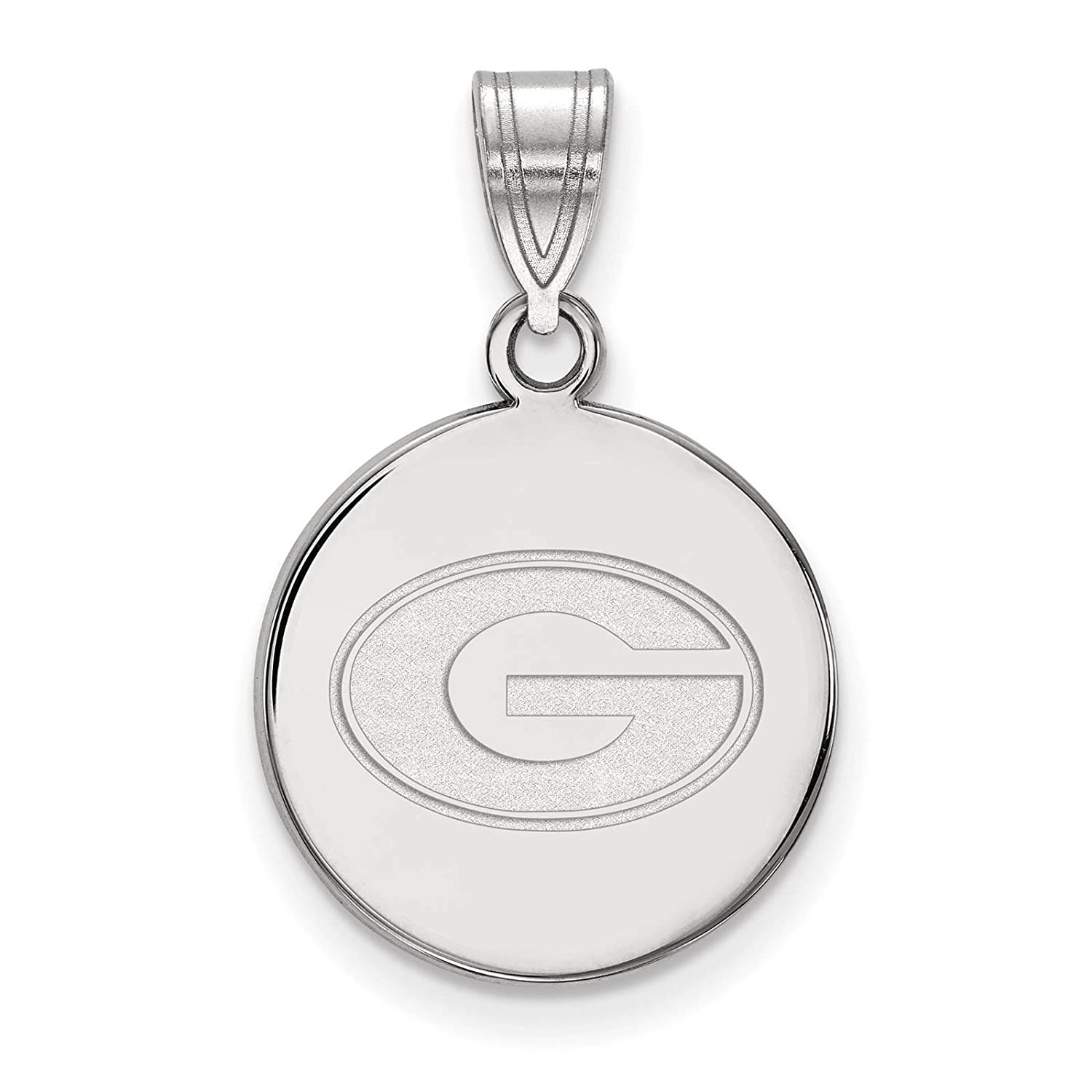 925 Sterling Silver Rhodium-plated Laser-cut University of Georgia Medium Disc Pendant