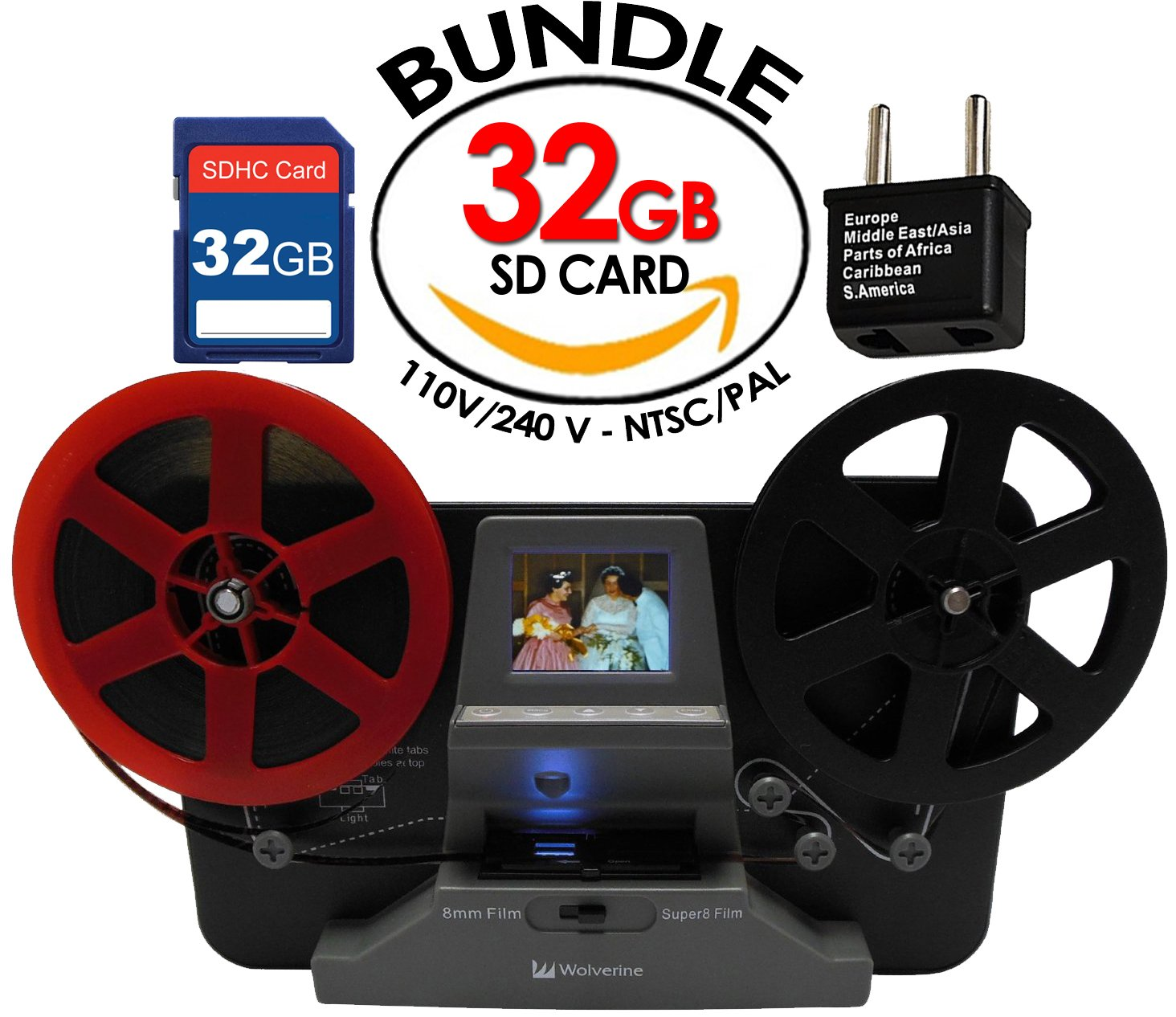 Wolverine 8 mm & Super 8 Reels Movie Digitizer w/ 2.4'' LCD (Film2Digital MovieMaker) Includes 32GB SD Memory Card & Worldwide 100-240V AC Adapter & International Two-Prong Round Pin Plug Adapter