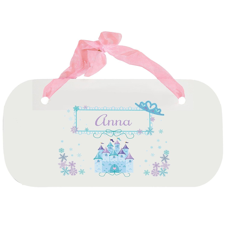Personalized Ice Princess Nursery Door Hanger Plaque with pink ribbon MyBambino
