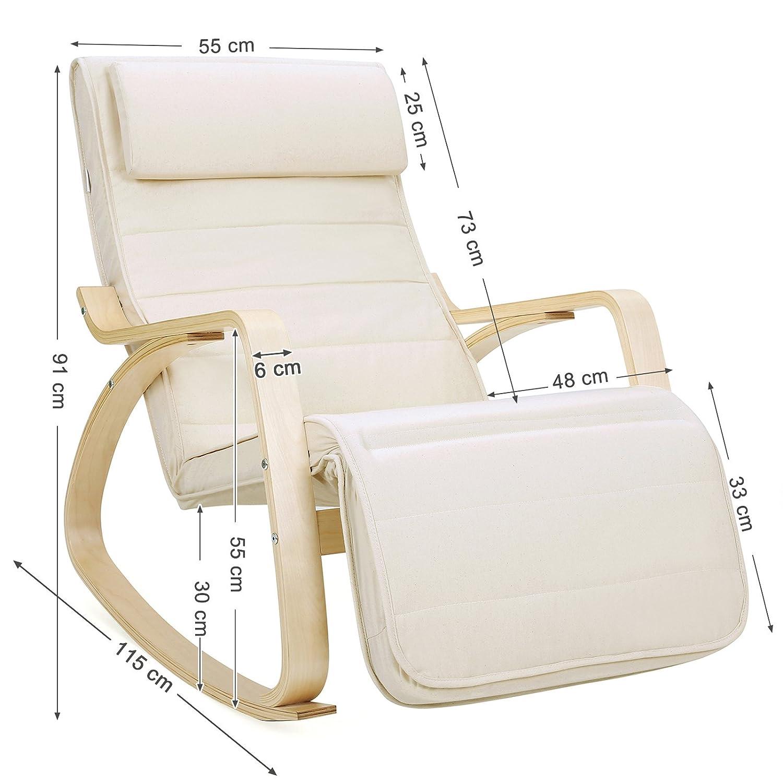 Perfect songmics fauteuil bascule fauteuil bascule avec for Chaise bercante pour allaiter