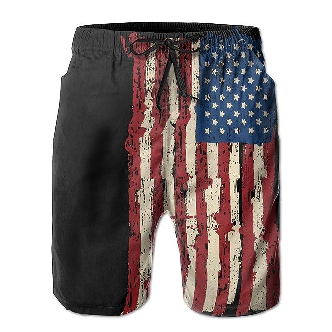 5f2138e6fc Amazon.com: TWOWT Mens American Flag Summer Quick-drying Swim Trunks ...