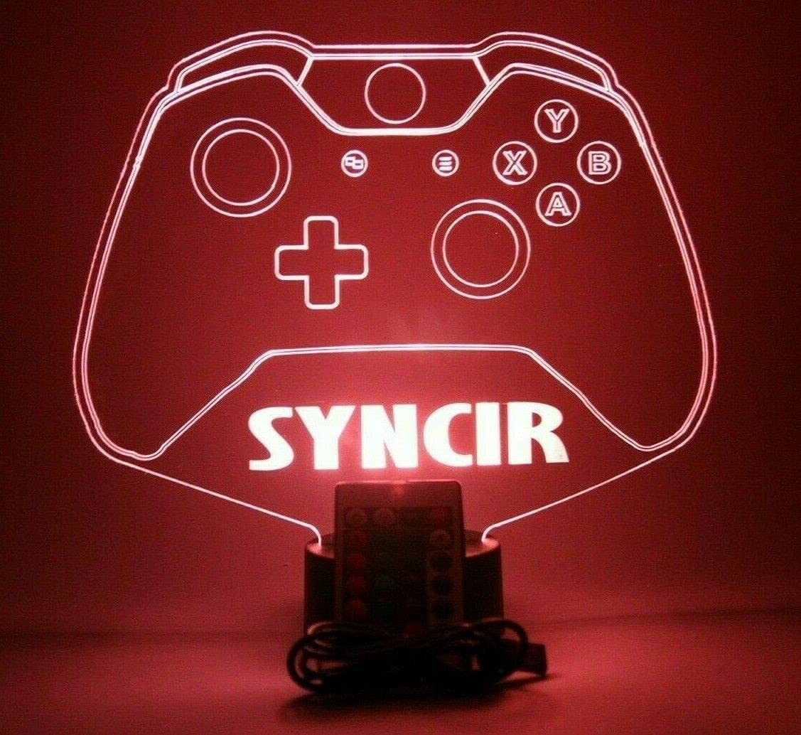 Video Game Controller Night Light Up Lamp LED Personalized One Wireless Console Joystick Gaming Room Desk Table Lamp, Our Newest Feature - It's Wow, with Remote, 16 Colors, Free Engraved, Great Gift