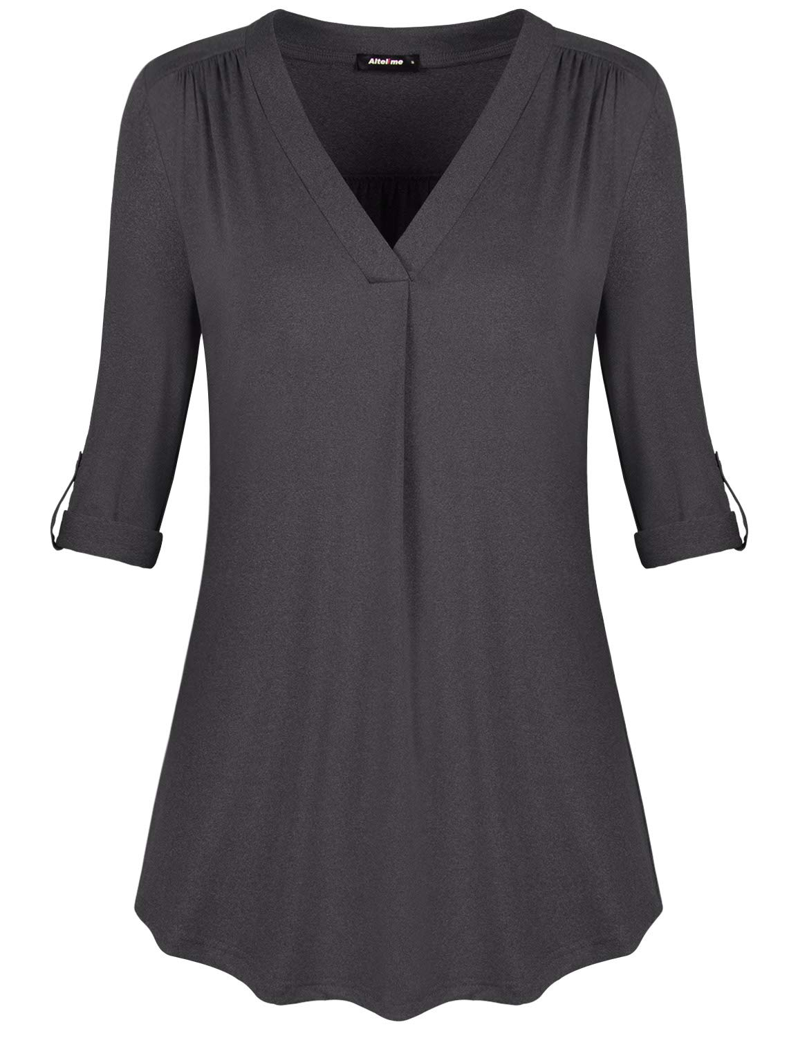 Altelime Tunic Blouses for Women 3/4 Sleeve, Juniors Long Sleeve Tops Soft Knit Jersey Henley V Neck Pleated Ruched Detail Loose Daily Wear Elegant Cuff Sleeve Blouse Shirts Charcoal Grey XL