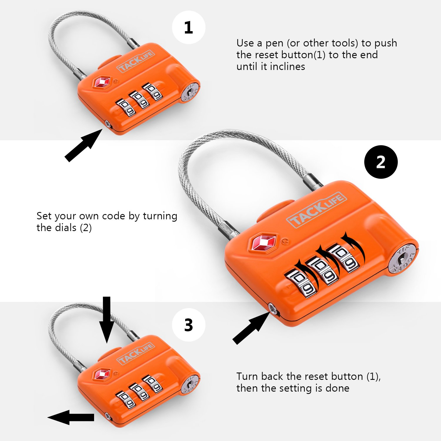 Luggage Locks, TACKLIFE HCL1A Cable Locks, TSA Approved Travel Locks, Flexible Locks, 3Digit Combination Locks for Gym, School, Locker, Outdoor, Fence, Suitcase & Baggage - Orange by TACKLIFE (Image #4)