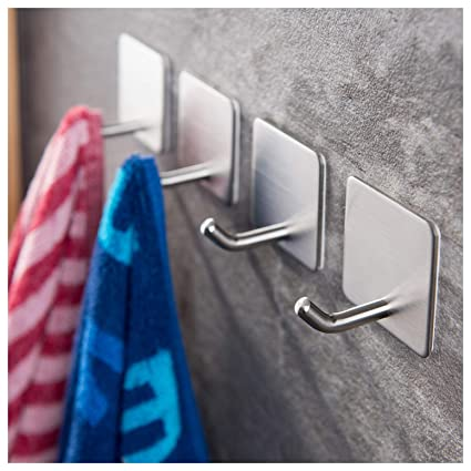 YIGII Towel Hooks/Bathroom Hook   3M Self Adhesive Hooks Office Hooks  Hanging Keys For