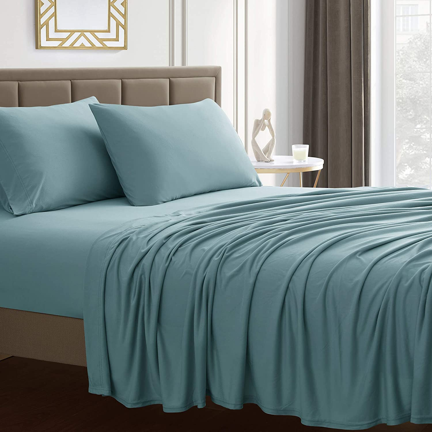 Sweet Home Collection Jersey Knit Microfiber Bed Sheet Set - Premium Soft & Breathable Stretch Deep Pocket Knitted Jersey Sheet Set - Queen, Misty Blue
