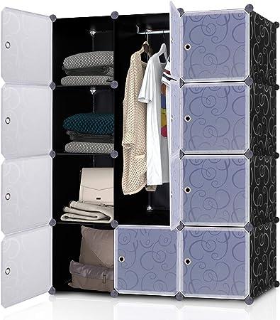 Lifewit Armoire /à V/êtement avec 12 Cubes DIY en Plastique R/ésine Penderie Rangement Amovible Noir et Blanc