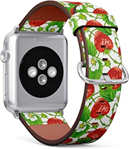 Compatible with Big Apple Watch 42mm & 44mm (All Series) Leather Watch Wrist Band Strap Bracelet with Stainless Steel Clasp and Adapters (Strawberry)