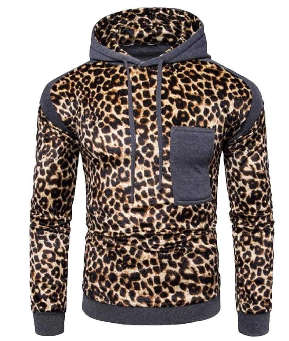 Gnao Men Drawstring Fashion Leopard Print Pockets Hoodie Pullover Sweatshirt