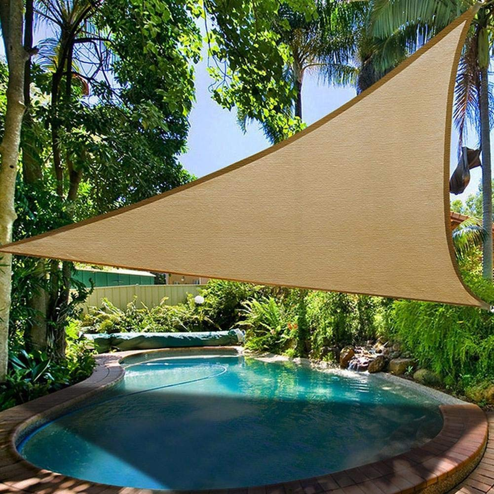 Beige 360×360cm Triangle Sun Shelter Sunshade Predection Outdoor Canopy Garden Patio Pool Shade Sail Awning Camping Picnic Tent