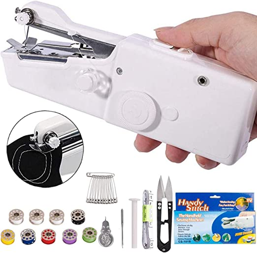 MANGZ Handheld Sewing Machine,Mini Cordless Portable Hand Sewing Machine Home Handy Stitch Quick Repairing for Fabric Clothes Curtains Leather