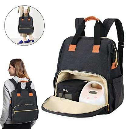 Luxja Breast Pump Bag with Compartments for Cooler Bag and Laptop Compatible with Spectra Breast Pump, Suitable for Working Mothers Breast Pump Backpack with 2 Options for Wearing