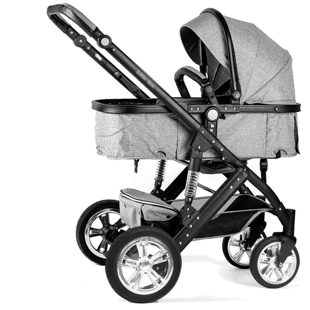 HAIZHEN マウンテンバイク 赤ちゃんのベビーカーのトラベルシステム赤ちゃんのベビーカー高い風景は、子供たちがトロリー冬と夏の二重使用軽量の赤ちゃんキャリッジ調節可能なプッシャーベビーカーを座って座ることができます 新生児 B07C6T3T1C グレー グレー