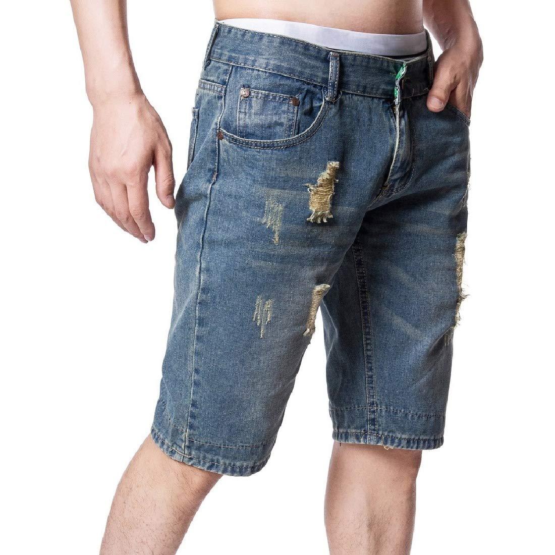 Winwinus Men Mid-Rise Trim-Fit Faded Ripped Distressed Casual Denim Shorts