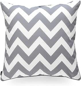 """Hofdeco Decorative Throw Pillow Cover Indoor Outdoor Water Resistant Canvas Modern Grey Zigzag Chevron 18""""x18"""""""