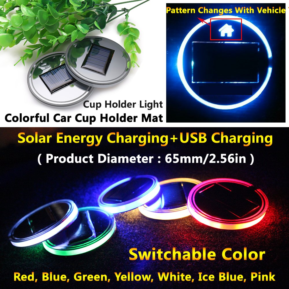 (Pack of 1) Solar Energy LED Car Cup Holder Bottom Pad Mat Atmosphere lights for ford f150 fusion escape f250 super duty E350 explorer kuga ecosport edge mondeo escort Taurus Focus fiesta accessories