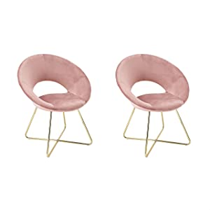 CangLong Modern Velvet Accent Chairs Upholstered Chairs Make-up Stool Home Office Guest Reception Chairs Dining Chair Leisure Lounge Chairs with Golden Legs Set of 2, Pink (KU-191339)