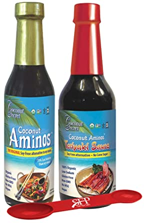 Amazon Com Coconut Secret Variety Pack 1 Coconut Aminos Soy Free Sauce 8 Oz And 1 Gluten Free Teriyaki Sauce 10 Oz Great For Chicken Marinade Stir Fry And Asian Food Bonus Measuring