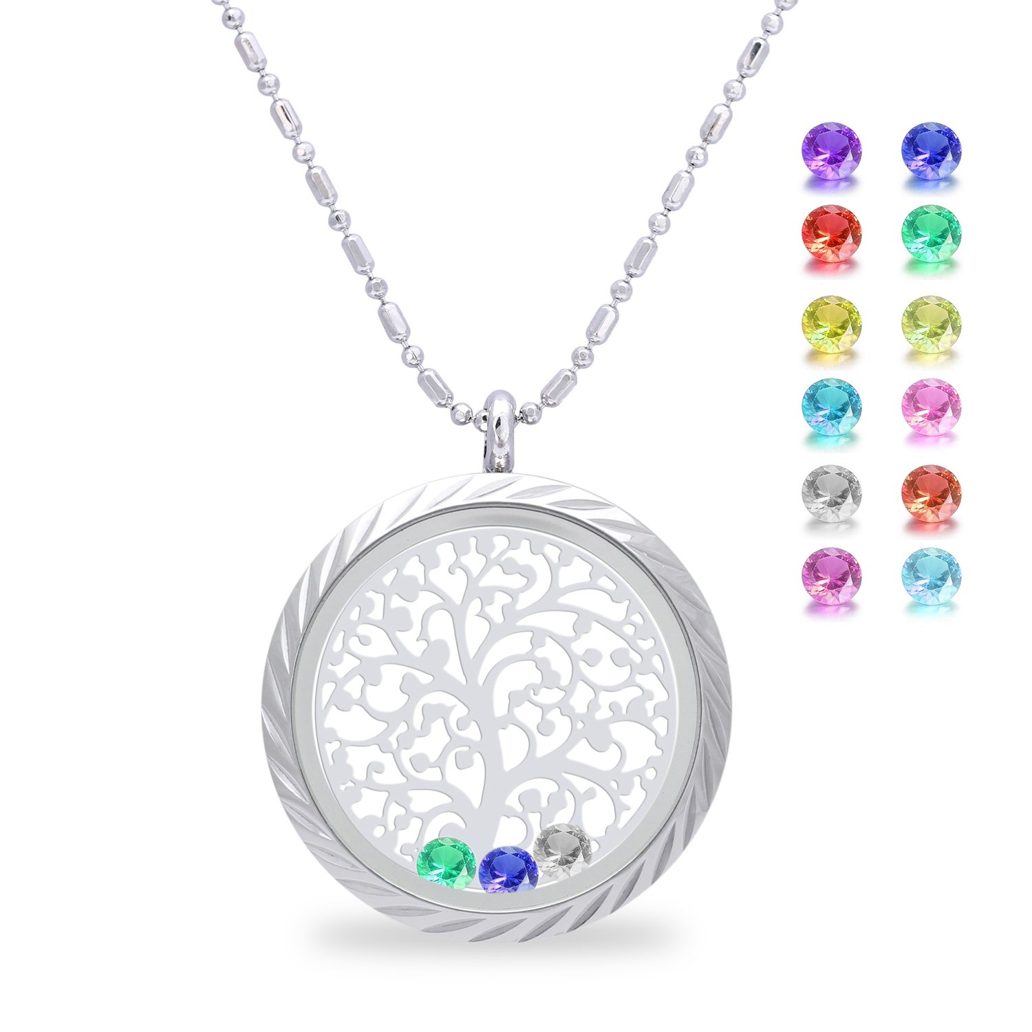 Family Tree of life Screw Floating Charm Living Memory Locket Pendant Necklace for mothers birthday Gifts for mom, daughter, her, wife, sister, christmas, girls, women, Grandmother(Engraving)