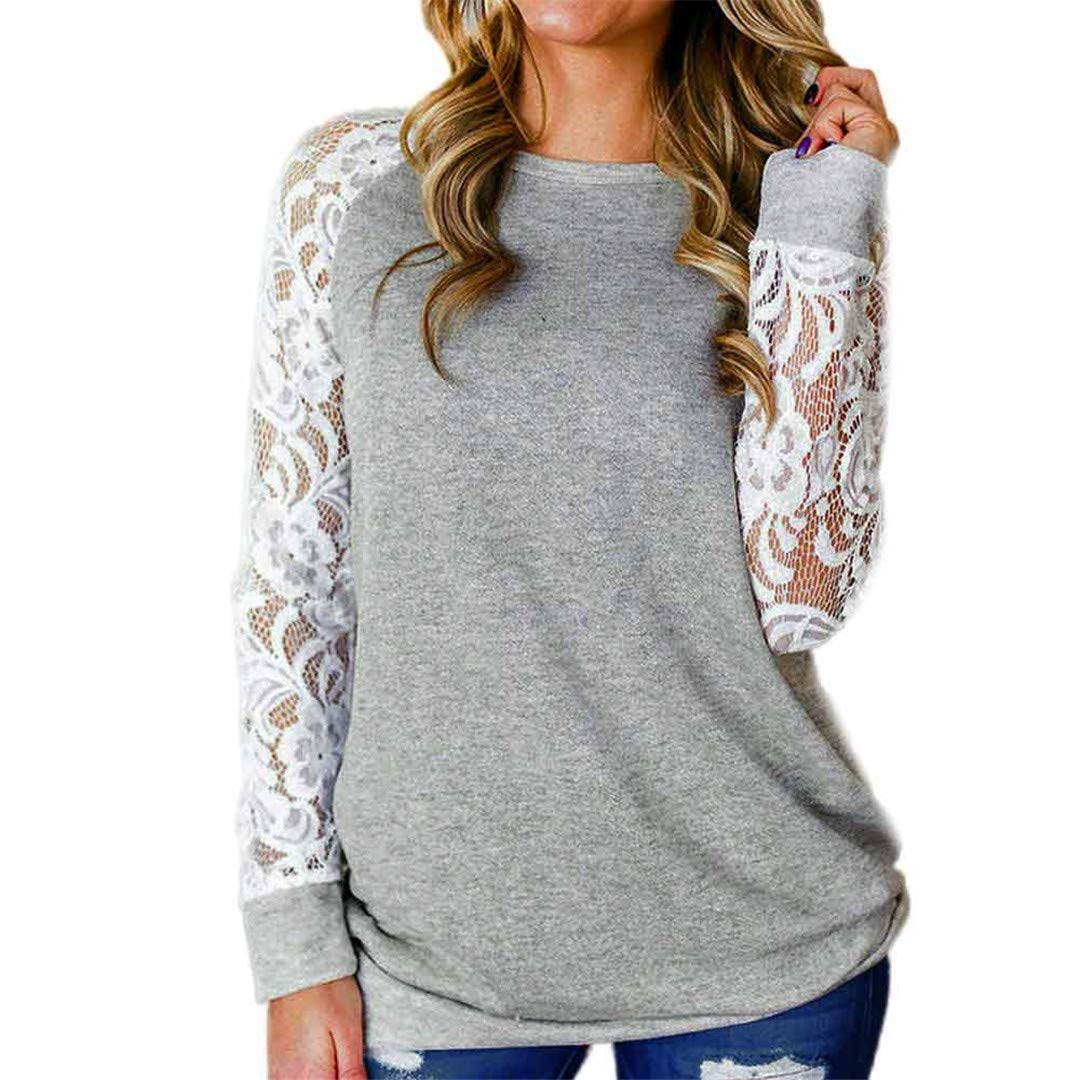 XVSSAA Women's Lace Panel Long Sleeve Blouse Tops, Ladies Comfort Loose Solid Color Round Neck Pullover T-Shirt Gray by XVSSAA