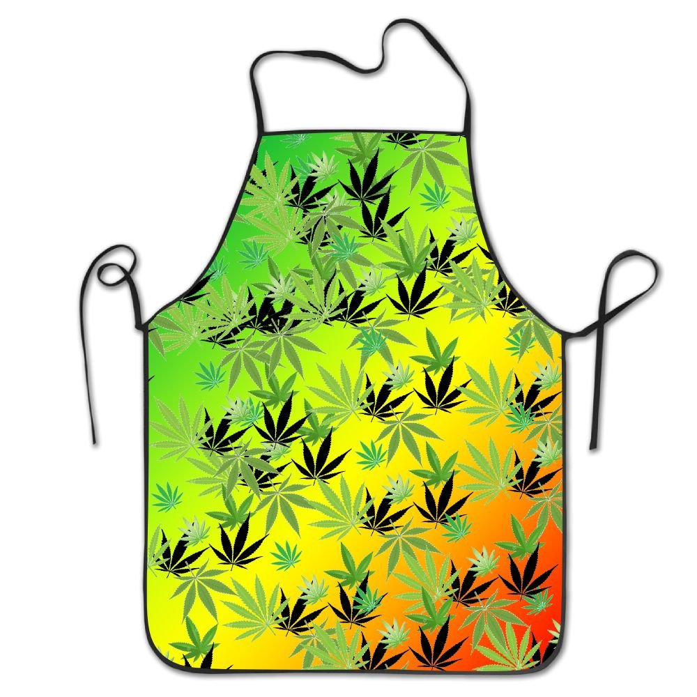大麻葉パターンアート調理シェフキッチンエプロン調節可能なよだれかけブラック   B075YPTLS3