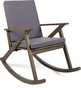 Christopher Knight Home 304341 Outdoor Acacia Wood Rocking Chair, Grey/Grey Cushion