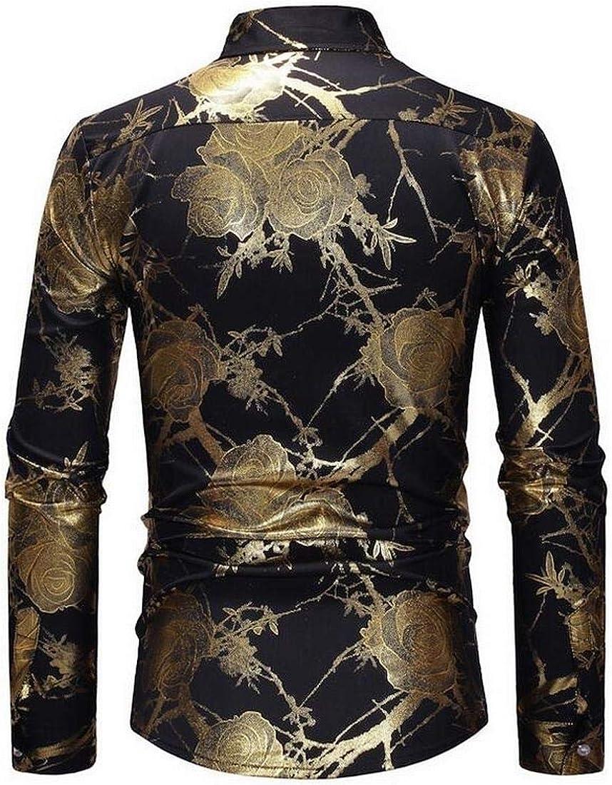 Fensajomon Men Fall /& Winter Floral Print Long Sleeve Slim Fit Button Up Vintage Dress Work Shirt Black XL