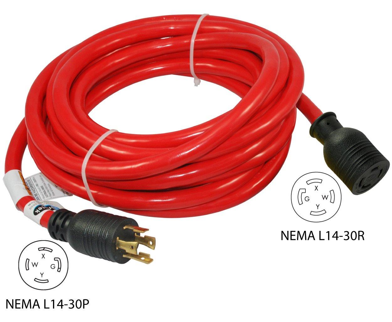 Conntek 20602 L14 30 4 Prong Amp Generator Cord 50 Reliance Controls Pb30 L1430 Power Inlet Box Feet Garden Outdoor