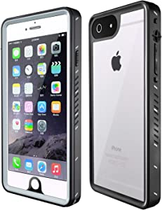 MixMart iPhone 6 Plus 6s Plus Waterproof Case IP68 Certified with Screen Protector Built in Full Body Protective Clear Case Shockproof Touch ID, Black