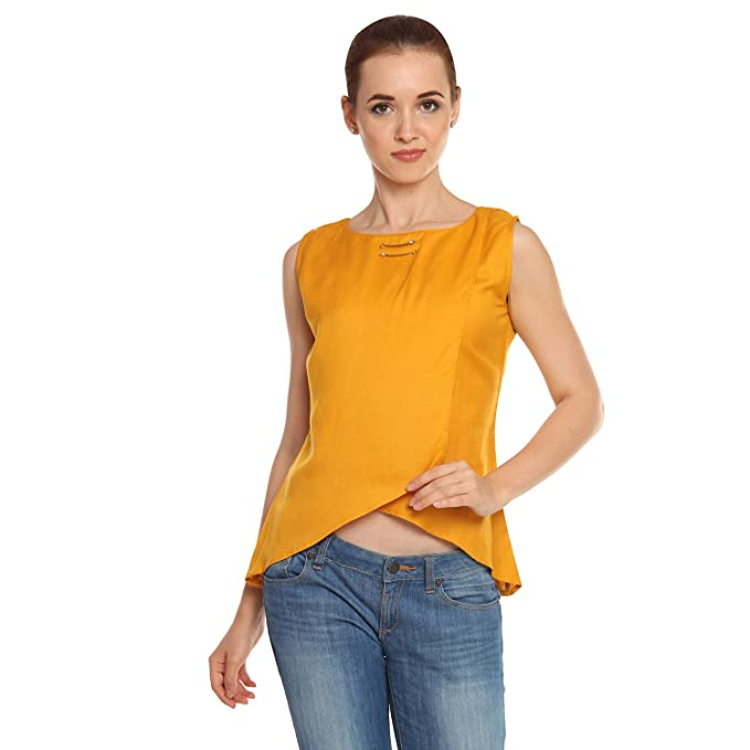 9c35cc6a023ee Itsyor Sleeveless Mustard Color Open Belly Casual wear Women s top (Small)