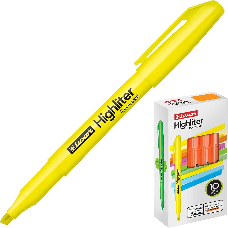 Luxor Highliter - Pack de 10 rotuladores, color amarillo: Amazon.es: Oficina y papelería