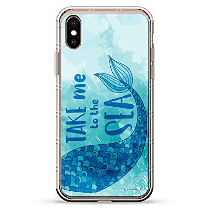 TAKE ME to The SEA Mermaid | Luxendary Air Series Clear Silicone Case with 3D Printed Design and Air-Pocket Cushion Bumper for iPhone X/Xs