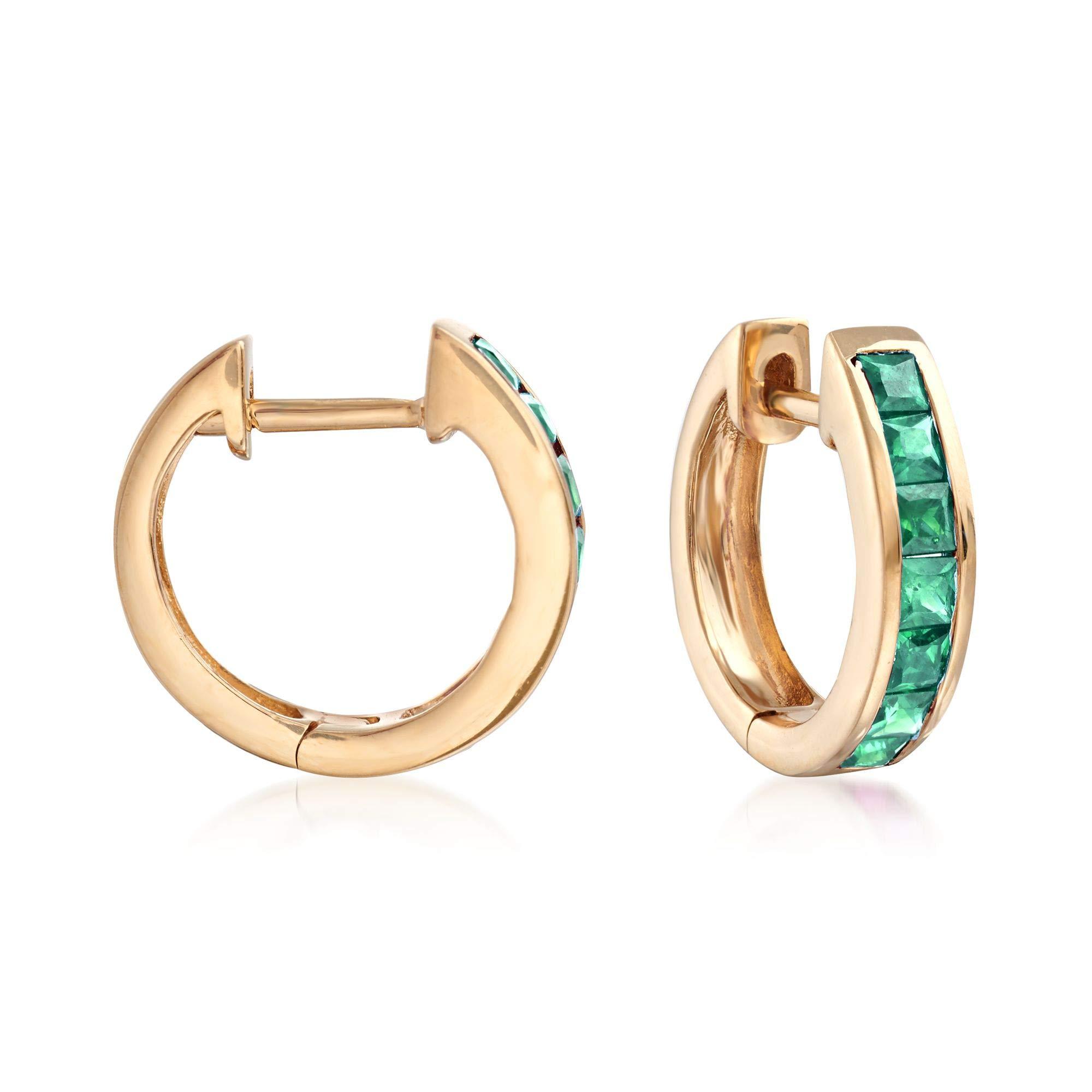 Ross-Simons 0.60 ct. t.w. Square-Cut Emerald Huggie Hoop Earrings in 14kt Yellow Gold