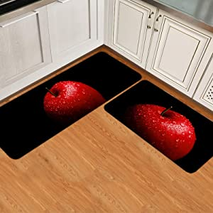 2 Pieces Kitchen Rug Set Non-Slip Backing Mat Throw Rugs Doormats Red Apples Painting Absorbent Area Runner Carpet for Bathroom Water Drop Fruit Black Art