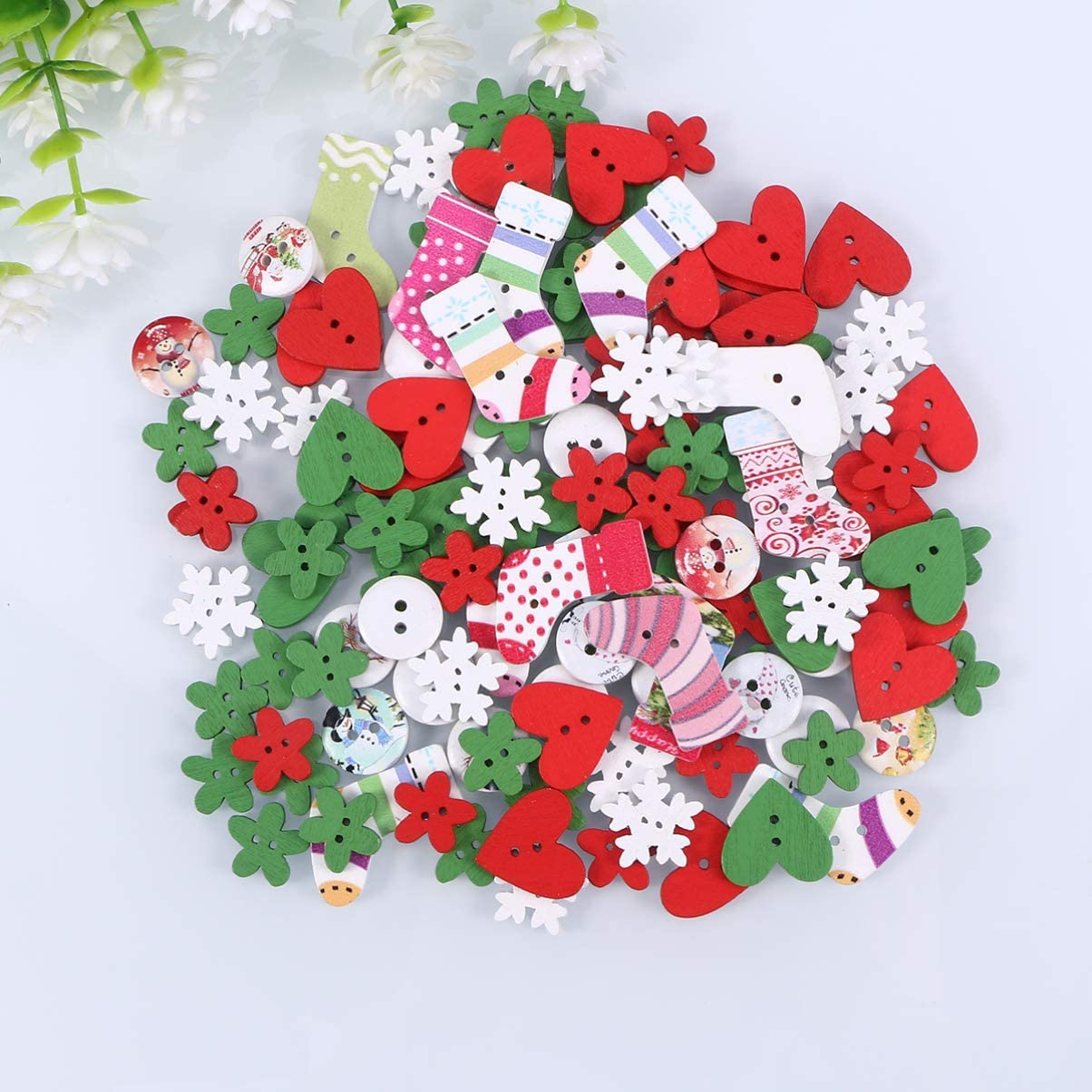 c/œur Amosfun Lot de 120 boutons en bois pour d/écoration de No/ël Motif mini arbre de No/ël flocon de neige
