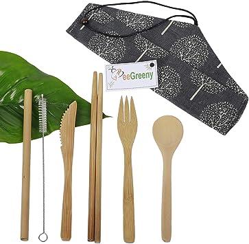 6 pièces BAMBOU couverts voyage Eco-Friendly Fourchette Cuillère paille Pochette Set Fashion