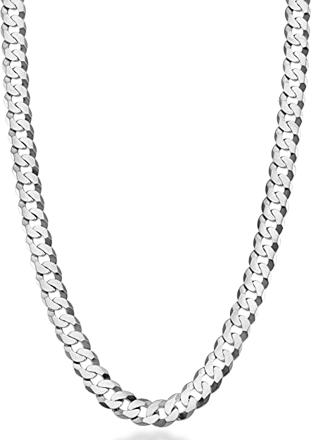 """Ladies 18"""" Solid 925 Silver 4mm Flat Cuban Chain MADE IN ITALY Amazing Quality"""
