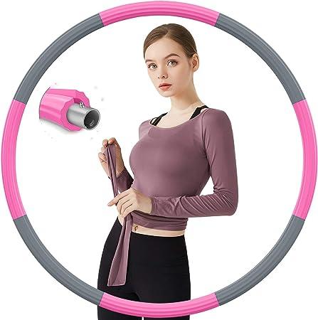 Aoweika Hoola Hoop Reifen Erwachsene 1.3kg Aktualisiert Rosa /& Weiß
