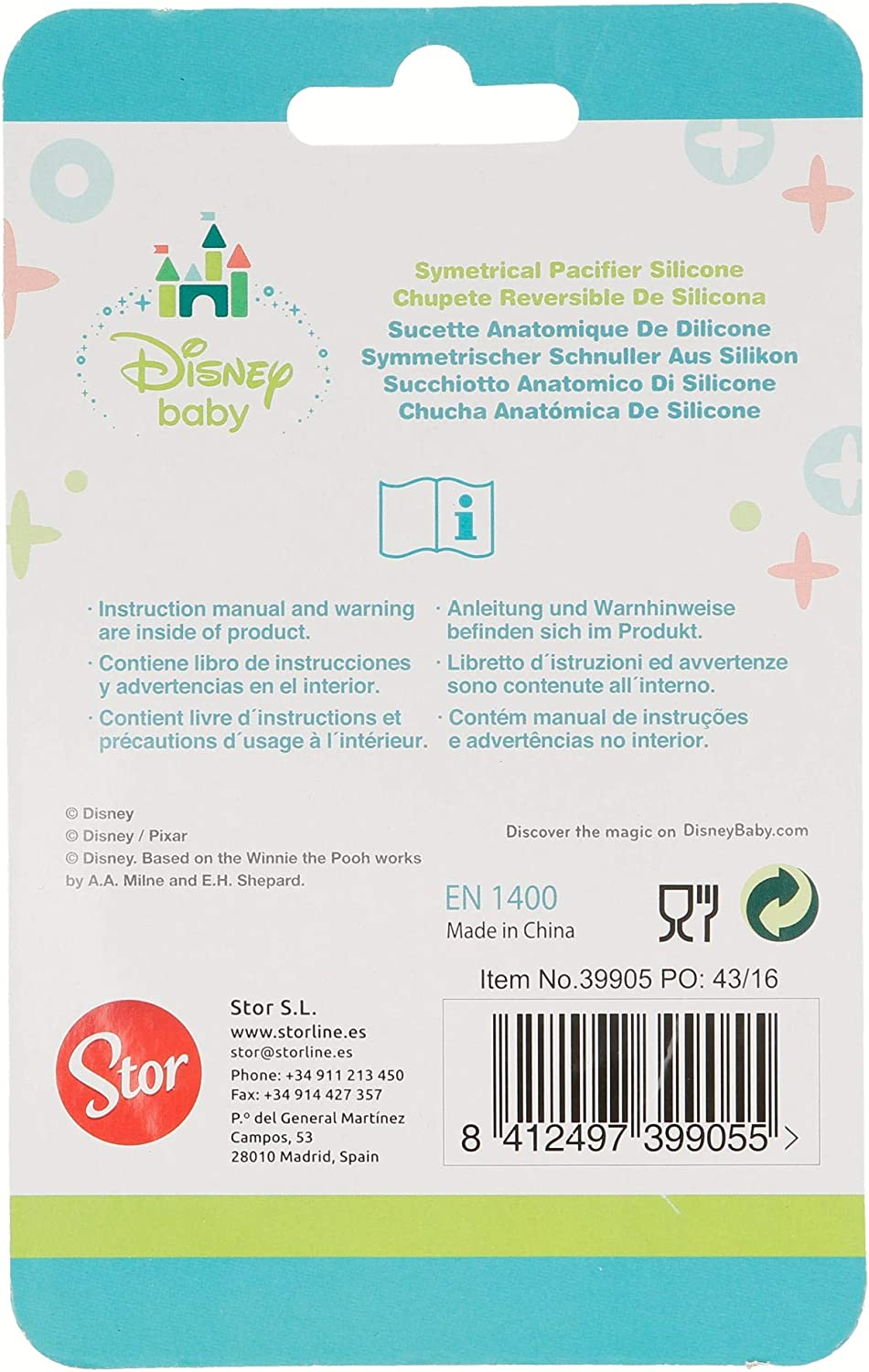Stor ST-39905 Chupete reversible silicona 6 m tetina fisiol/ógica en blister dise/ño Minnie Mouse
