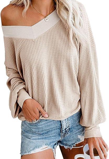 CLOUSPO Womens Cozy Waffle Knit V Neck Jumper Pullover One Off Shoulder Sweatshirt Tops