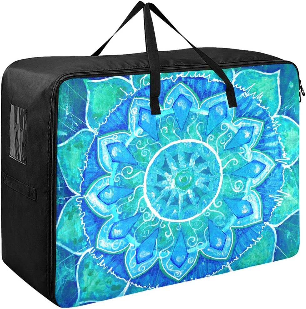 Bolsas de almacenamiento para ropa Gran cuadro abstracto azul pintado Círculo Organizador de ropa Bolsa de almacenamiento 70 X 50 X 28 cm Edredón Colcha Almohada Equipaje Mover Totalizador de ropa Ar